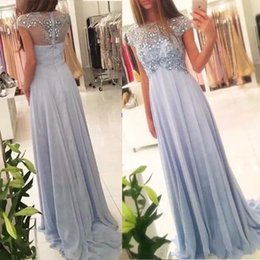 Barato Partido Costume Partido-Modest Light Sky Blue Crystal Prom Dresses 2018 Jewel Beaded Cap Sleeve A Line Long Evening Party Especial Ocasião Vestidos grávida Custom