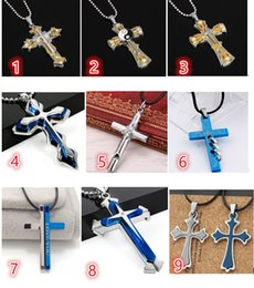 $enCountryForm.capitalKeyWord Australia - New Men's Cool Silver Blue Silver Stainless Steel Mixed Cross faith Pendant Black Rope Chain Necklace Accessories Best wishes gift