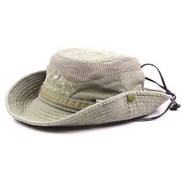 d8361cc8525 Men Summer Cotton Cowboy Sun Protection Hat Multifunctional Outdoor Sports  Adjustable Bucket Hat Wide Brim Caps Sun Block Fishing Hat