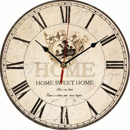 Attractive Wholesale  F85 Large Vintage Flower Wooden Wall Clock Kitchen Antique  Shabby Chic Retro Home
