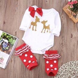 ed7106f789cb2 Santa cadeau bébé cerf barboteuse red Dot Red Legging Warmer Golden Body de  renne Bowknot Onesie 0-24M Noël enfant vêtements garçon Girl Suit Outfit