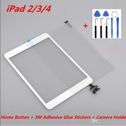 3m ipad screen NZ - For iPad 2 3 4 Touch Original Screen Digitizer Assembly with Home Button + 3M Adhesive Glue Stickers + Camera Holder +Tools Repair Parts