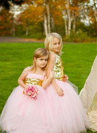 Toddler Flower Girl Dresses Wedding Canada - 2017 Lovely Toddler Baby Tutu Ball Gown Tulle Pink Flower Girls Dresses For Wedding Birthday Party Communion With Gold Sash