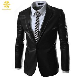 Barato Casacos De Couro Verdes Mens-Vestido de roupa formal Single Buttom para homem formal Outwear Jacket acolchoado com trincheira Retro Mens Warm Faux Leather Suit Coat Preto Escuro Verde