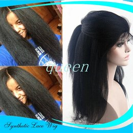 Burgundy yaki straight lace wigs online shopping - IN Stock Italian Yaki Synthetic Lace Front Wigs Heat Resistant Yaki Straight Glueless Lace Front Synthetic Wigs For Black Women