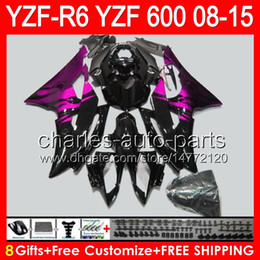 Pink yamaha r6 online shopping - 8gifts For YAMAHA YZF R6 YZF600 YZF R6 pink flames NO83 YZFR6 gloss black Fairing