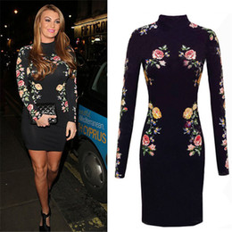 38f2f21ee9a Sexy Rose Floral 3D Appliques Patch Designs Embroidery Slim Off Shoulder  Sheath Dress Package Hip Long Sleeve Vestidos QF-004