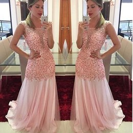 Robes De Soiree En Mousseline Pas Cher-Pink Evening Party Robes 2017 Beaded Chiffon Crystal Prom Gowns Long Robe formelle Evening Party princesse robe de fête