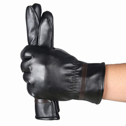 Wholesale Men Fashion Warm Cashmere Leather Male Winter Gloves Driving Waterproof Glove Mitten Guantes