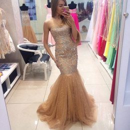 Barato Chiffon De Cristal De Luxo-Luxo Champagne Mermaid Evening Dresses 2017 Off The Shoulder Sweetheart Com Beading Crystal Sequins Formal Prom Dresses