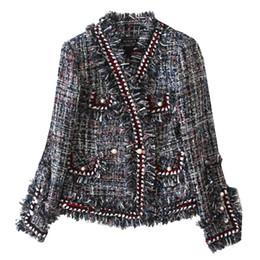 $enCountryForm.capitalKeyWord Canada - Women velvet sexy elegant OL noble Tassel pearl thicken suit boutique fashion brand soft Ladies classic Tweed Cotton Thin Slim jacket
