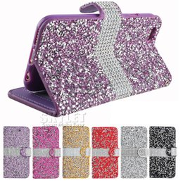 Lg diamond waLLet online shopping - Diamond Wallet Case For iPhone PU Leather Cases Glitter Bling Bling Case Card Slot Frame Case For Galaxy Note S8 with OPP Package