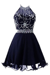 Sparkly Backless Halter Curto Homecoming Vestidos 2019 Chiffon A Line Real Imagem Dark Azul Marinho Formatura Vestidos Cocktail Crystal Beadings