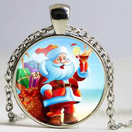 $enCountryForm.capitalKeyWord NZ - Glass Galaxy Cabochon Father Christmas Portrait Pendant Necklace Santa Claus Maxi Choker Necklaces For Women Merry Christmas