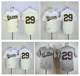 Barato Tops Brancos Do Vintage-Cheap St. Louis Browns 29 Satchel Paige Jersey Cinza Branco Creme 1953 Vintage Throwback Baseball Jerseys Shirt Stitched Top Quality!
