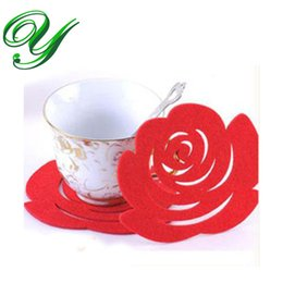 $enCountryForm.capitalKeyWord UK - Mug Coaster Table Mats wedding rose Pads romantic Party Decorations Home non-woven 12cm Antiskid colorful Placemats Valentines Day gifts
