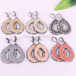 $enCountryForm.capitalKeyWord Australia - new design 4Pairs Mix color leather dangle earrings with pave crystal rhinestone pearl dangle earrings,Handmade Fashion Jewelry