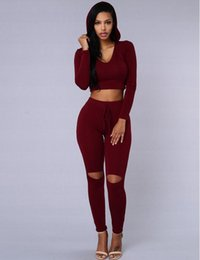 Barato Penteado Para Mulheres-New Women Two Piece Outfits Calças Hot Spring manga comprida Rompers e Jumpsuits Casual Red Black Hooded Jumpsuits