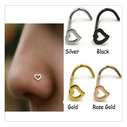 $enCountryForm.capitalKeyWord Canada - Wholesale Heart Nose Rings Screw Stud Ring Body Jewelry Piercing Stainless Steel Nose Open Hoop Ring Earring Studs Free Shipping