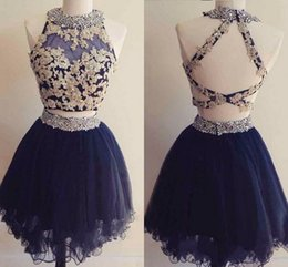 CoCktail dress pink silver online shopping - Cute Two Pieces Mini Short Homecoming Dresses Navy Blue Appliques Beaded Backless Sweet Graduation Dresses Short Cocktail Party Dresses