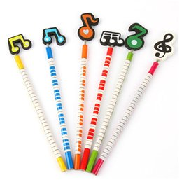 Vente En Gros Faite À La Main Pour Les Enfants Pas Cher-Vente en gros- 6Pcs / Lot New Cartoon Music Notes en bois à la main 2B Pencil Music Christmas Gift For Kids H0368
