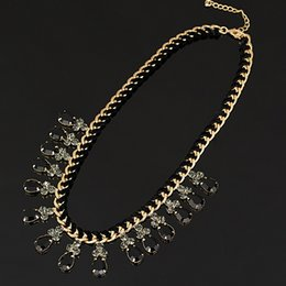 $enCountryForm.capitalKeyWord Canada - YFJEWE Fashion Thick Chain Weave black Rhinestones Crystal Beads Choker Luxury Chunky Necklace Statement Jewelry #N009