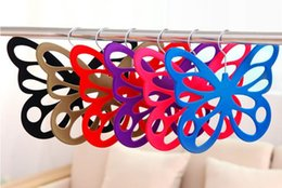 Scarf Shops Canada - Butterfly Velvet Hanger for Scarf Ties Belts Jewelry Accessories Hats Colorful Flocking Hangers Home Office Shop Storage Racks