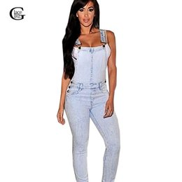 Jeans Léger En Jean Denim Pas Cher-Wholesale- Lace Girl Light Color Denim Femmes Combinaisons 2017 Sexy Jeans sans manches en mousseline de soie Bodysuit Casual Denim Femmes Slim Rompers