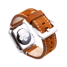 Chinese  For IWatch Band Strap Premium Vintage Genuine Leather Replacement Watchband with Secure Metal Clasp Buckle for Apple Watch Black and Brown manufacturers