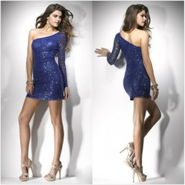 Barato Barato Sexy Night Club Vestidos-2016 Sexy Vestidos de Cocktail de bainha curta Um ombro Sequins Party Night Club Vestidos Vestidos de noite baratos Voltar Zipper Shinning Prom Gowns