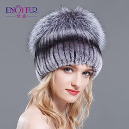 $enCountryForm.capitalKeyWord NZ - Winter rex rabbit fur hat for women with fox fur pom poms top knitted beanies fur hats 2015 new brand causal good quality caps