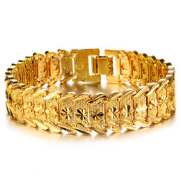 Discount platinum mens gifts - Hot Sale Fashion Mens 18k Yellow Gold Plated Men's Cuff Link Bracelet Chain Leaf Carving Wristband High Polish