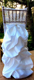 orange wedding chairs sashes 2019 - Custom Made 2017 Lace Draped Taffeta Crystal Chair Covers Vintage Romantic Chair Sashes Beautiful Fashion Wedding Decora