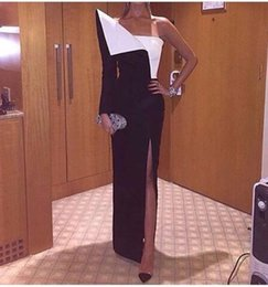$enCountryForm.capitalKeyWord NZ - 2017 Cheap Sheath Evening Dresses with Side Split 1 2 One Shoulder Long Sleeves Black and White Asymmetrical Modern Party Prom Gowns