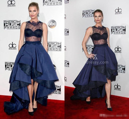 Robes De Soirée En Cristal Américain Pas Cher-Sexy Rebecca Romijn Blue Sheer Lace Satin Robes de soirée de bal American Music Awards 2016 Robe de bal Jewel Long Celebrity Party Gowns Hi-Lo