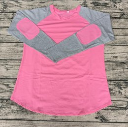 $enCountryForm.capitalKeyWord NZ - Wholesale Baby Girls Fall Personlized Children Long Sleeve Elbow Patch Raglan Long Sleeve Cute Pink Tee Shirt