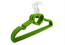 $enCountryForm.capitalKeyWord Canada - Good Quality 10pcs lot Clothing Hanger Heart Shaped Flocking Non Slip Thin Velvet Durable Clothes Space Save Closet for Baby Children