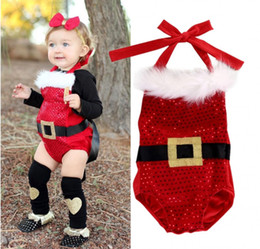 Barato Vestido Novo Das Crianças Dos Toddlers-Chirstmas Toddler Romper Suit Dress Baby Clothes New Year Jumpsuit Bubble Onesies Next Kids Leotards Infant Boutique Clothing Papai Noel