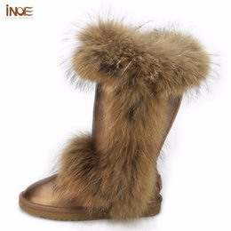 Wholesale INOE Fashion big girls fox fur high snow boots for women winter shoes tall real cow genuine leather boots brown black waterproof