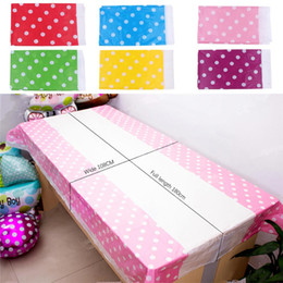 Wholesale  New 108*180CM Polka Dots Party Plastic Table Cover For Kids  Birthday Party Decor Multi Color