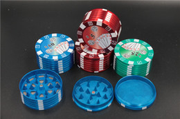 Chip Wholesale Cigarettes Canada - free shipping Metal Tobacco Herb Spice poker chip style tobacco spice Grinders big 51mm 3 layers shark cigarette hand muller Smoke Crusher