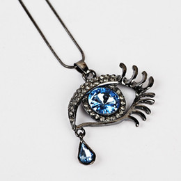 silver vintage evil eye necklace NZ - 20 pC New Fashion Magic Teardrop Vintage evil eye Necklace & Pendants Angel Tears Crystal Necklace Collar Long Chain Hot Gifts