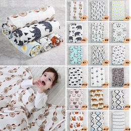 Housse De Serviette Pour Enfants Pas Cher-Muslin Cotton Newborn Swaddle 22 Patterns Cute Ins Fox 120 * 120cm Housse de soins Newborn Blanket Baby Kids Towels # 20170725-1 Drop Shipping