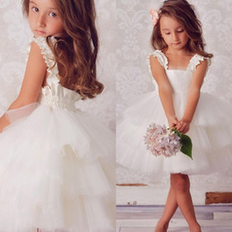 cheap cute shorts Australia - Cute 2017 New Ivory Tulle Tiered Ball Gown Flower Girls Dresses For Weddings Cheap Square Short Beach Wedding Party Gown Custom Made EN11185