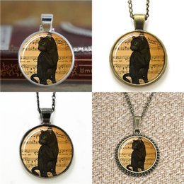 Earring guns online shopping - 10pcs Gun Black Cat Cute Halloween Black Pendant Jewelry glass Necklace keyring bookmark cufflink earring bracelet