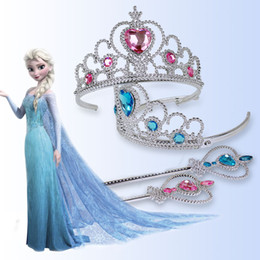 Accesorios Princesa Traje Baratos-Frozen Crown Girls princesa Crown Headband + Magic Wand 2pcs / Sets Accesorios de disfraces Cosplay de Halloween Queen Tiaras Princess Hair Sticks