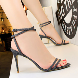 red gladiator pumps 2019 - Sexy Buckle Sandals Clubwear Women Pumps Heels PU Leather Open Toe Thin High Heels Festival Party Wedding Shoes Formal P