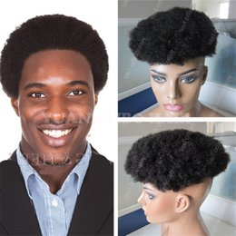 Indian Hair Wigs For Man Canada - Africa American Toupee 6inch 1B Virgin Indian Hair Short Afro Curl Toupees for Black Men Free Shipping