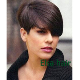 Wig Black Bangs African American Canada - New Arrival Cheap Pixie Cut short glueless with bangs for african americans Best brazilian Virgin straight Human hair wigs for black women