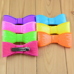 Wholesale Hot New Big Sequin Bows Neon Colors Top Quality Shinny Sheet Bowknots For Baby Girl Beautiful Hair Clip H0155